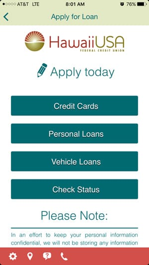 Mobile Loan App Preview - Main Menu