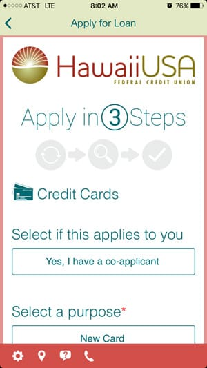 Mobile Loan App Preview - Credit Cards Page