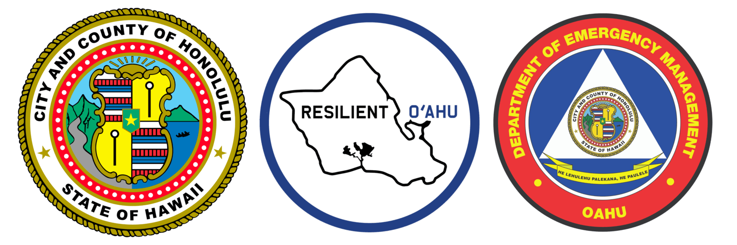 Honolulu County seal, resilient O'Ahu seal, and Oahu department of emergency management seal