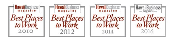 Hawaii Business Magazine's Best Places to Work Logos for Years 2010, 2012, 2014, and 2016