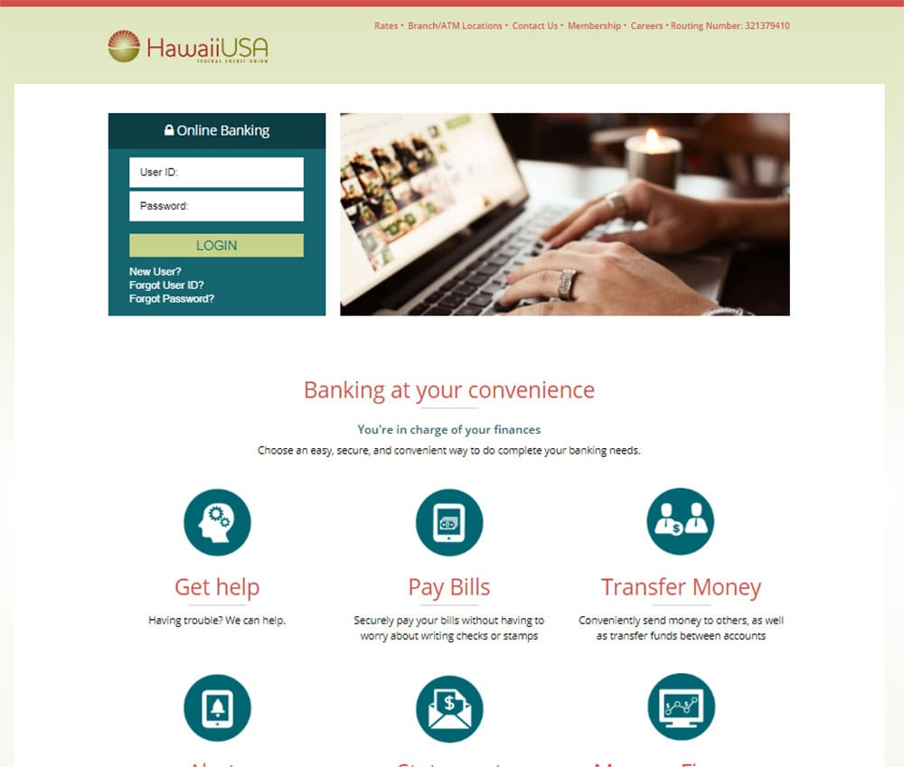 Screenshot of New Online Banking Login Page