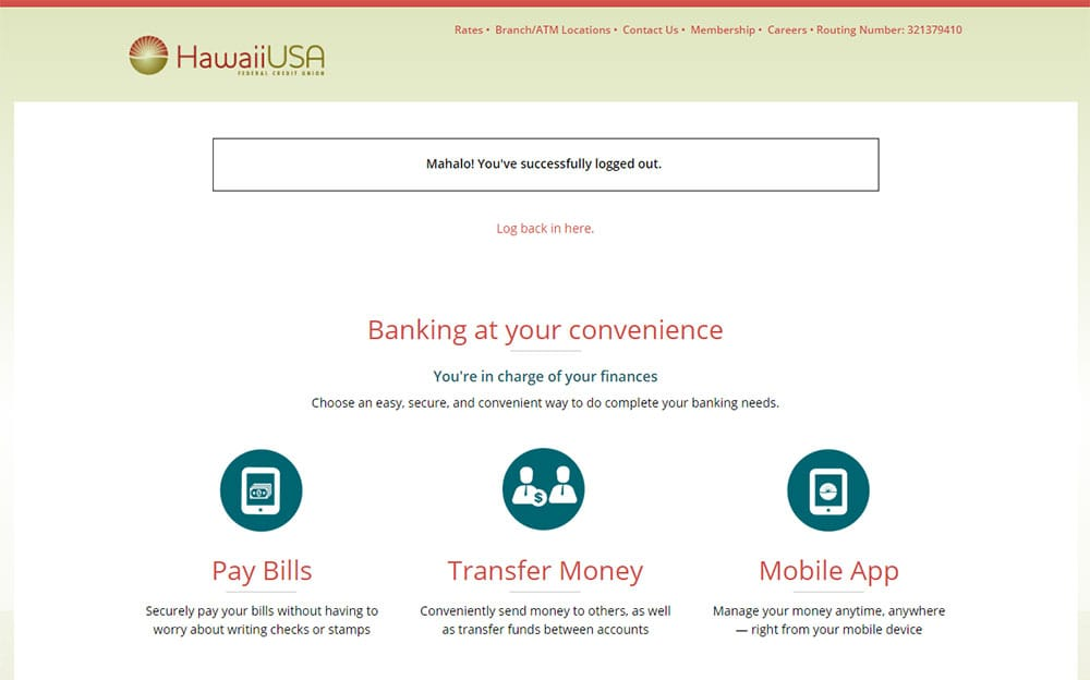 Screenshot of New Online Banking Interface