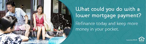family sitting by the pool - What could you do with a lower mortgage payment - Refinance today and keep more money in your pocket